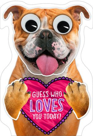 Dog Holding Heart Valentine's Day Card