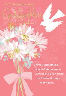 Flowers and Dove for Goddaughter Confirmation Card,