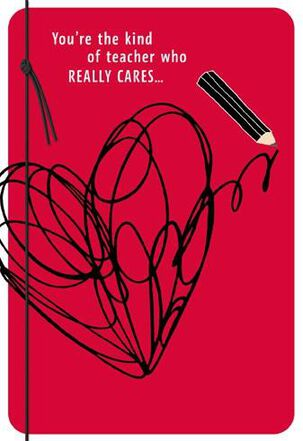 Scribble Heart for Teacher Valentine's Day Card