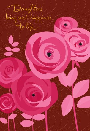 Pink Flowers with Gems Sweetest Day Card for Daughter