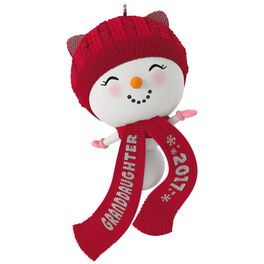 Cute Snowman Granddaughter Ornament, , large