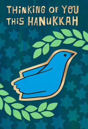 Dove with Leaves Hanukkah Card