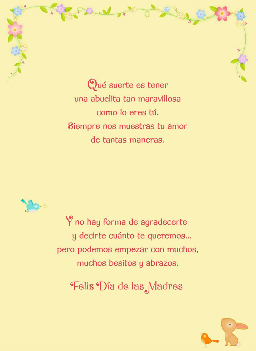 Little animals spanish language mothers day card for grandma little animals spanish language mothers day card for grandma m4hsunfo