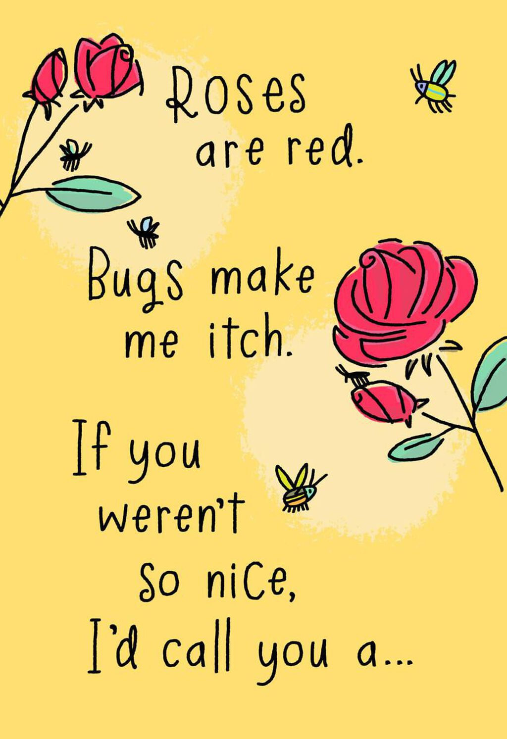 Bugs Make Me Itch Poem Funny Birthday Card