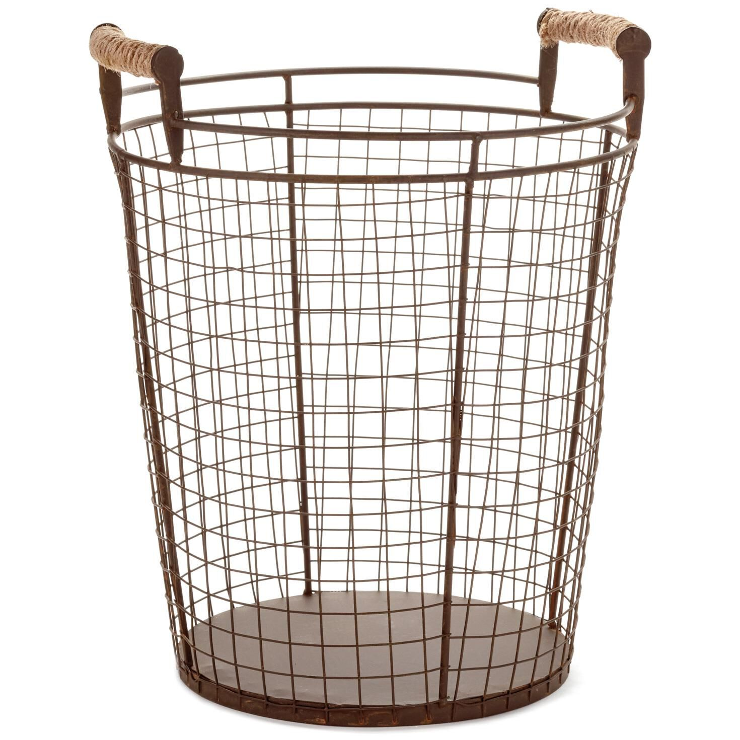 Small Wire Basket With Jute-Wrapped Handles, 15\