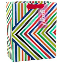 "Colorful Skinny Stripes Large Gift Bag With Gift Tag, 13"", , large"