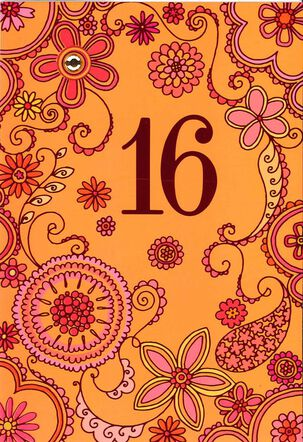 Orange and Pink Floral 16th Birthday Card