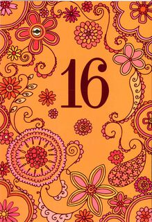 Orange and Pink Floral 16th Birthday Card,