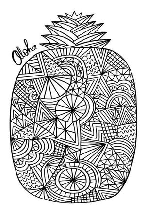Aloha Pineapple Just Because Coloring Card