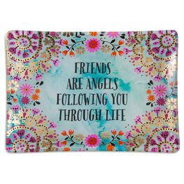 Natural Life Glass Tray Friends are Angels, , large