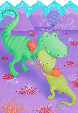 Hugging Dinosaurs Valentine's Day Card for a Child