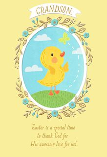 Yellow Duckling Religious Easter Card for Grandson,