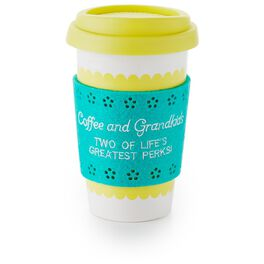 Yellow and Turquoise Ceramic Travel Mug for Grandmas, , large