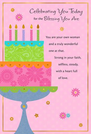 Bright Patterned Cake Birthday Card
