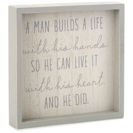 A Man Builds a Life Framed Quote, , large