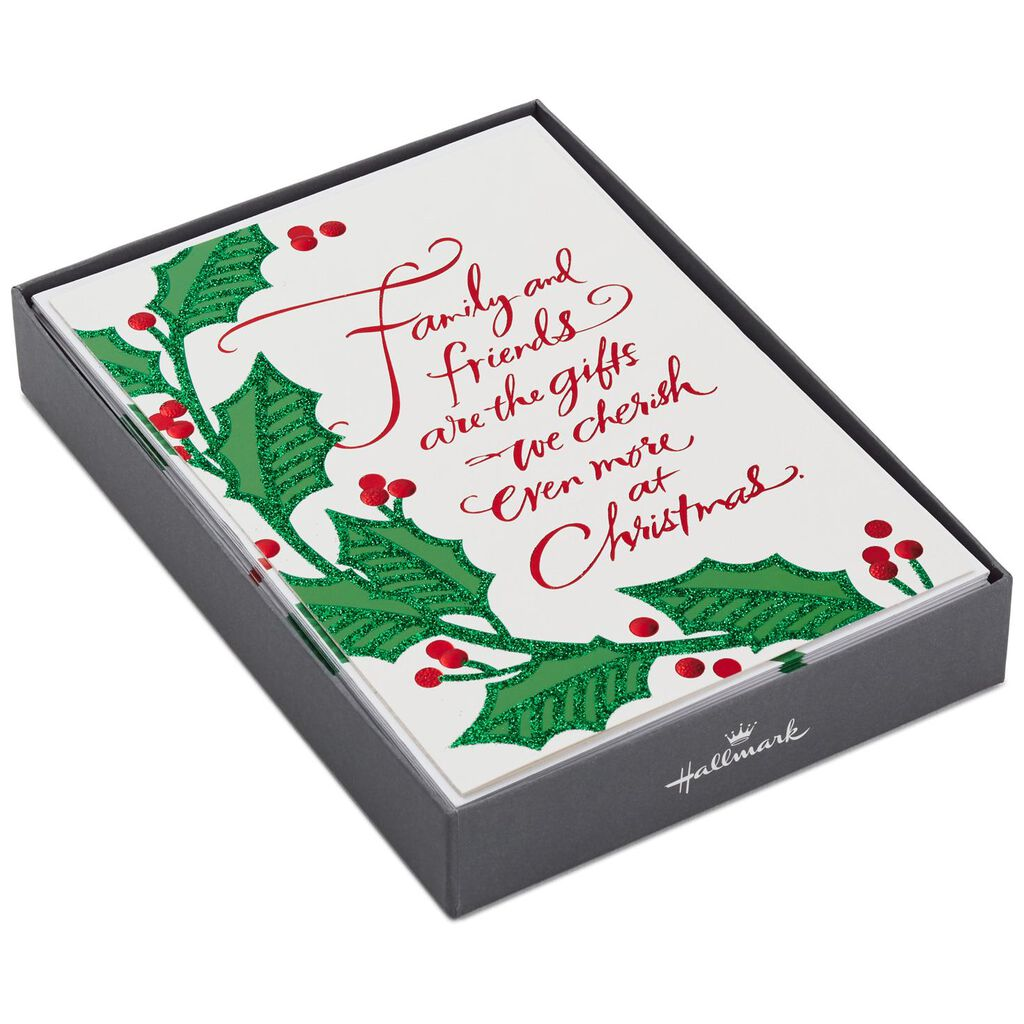 Family and Friends Holly and Ivy Christmas Cards, Box of 16 - Boxed ...