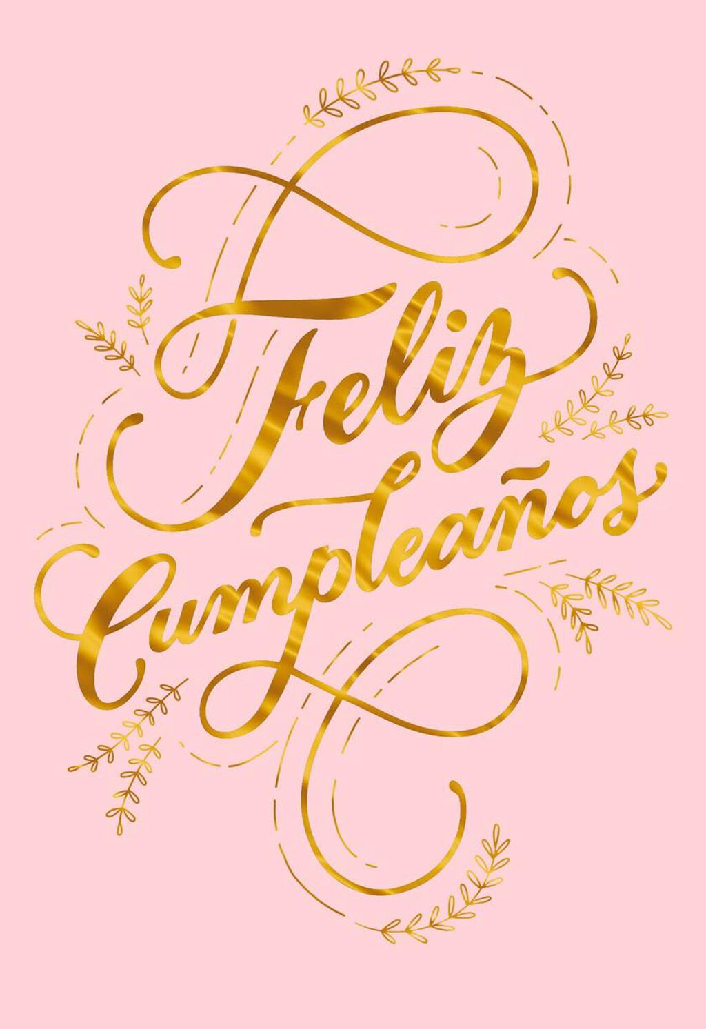 Feliz Cumpleaos Gold Script Spanish Language Birthday Card