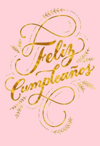 Feliz Cumpleaos Gold Script Spanish Language Birthday Card