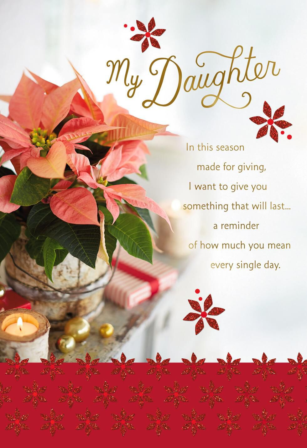 Poinsettia Flowers Christmas Card for Daughter - Greeting Cards ...