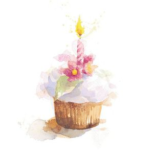 Birthday Cupcake and Candle Blank Card