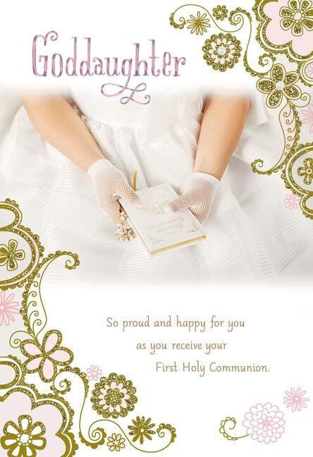 Hands in white gloves first holy communion card for goddaughter m4hsunfo