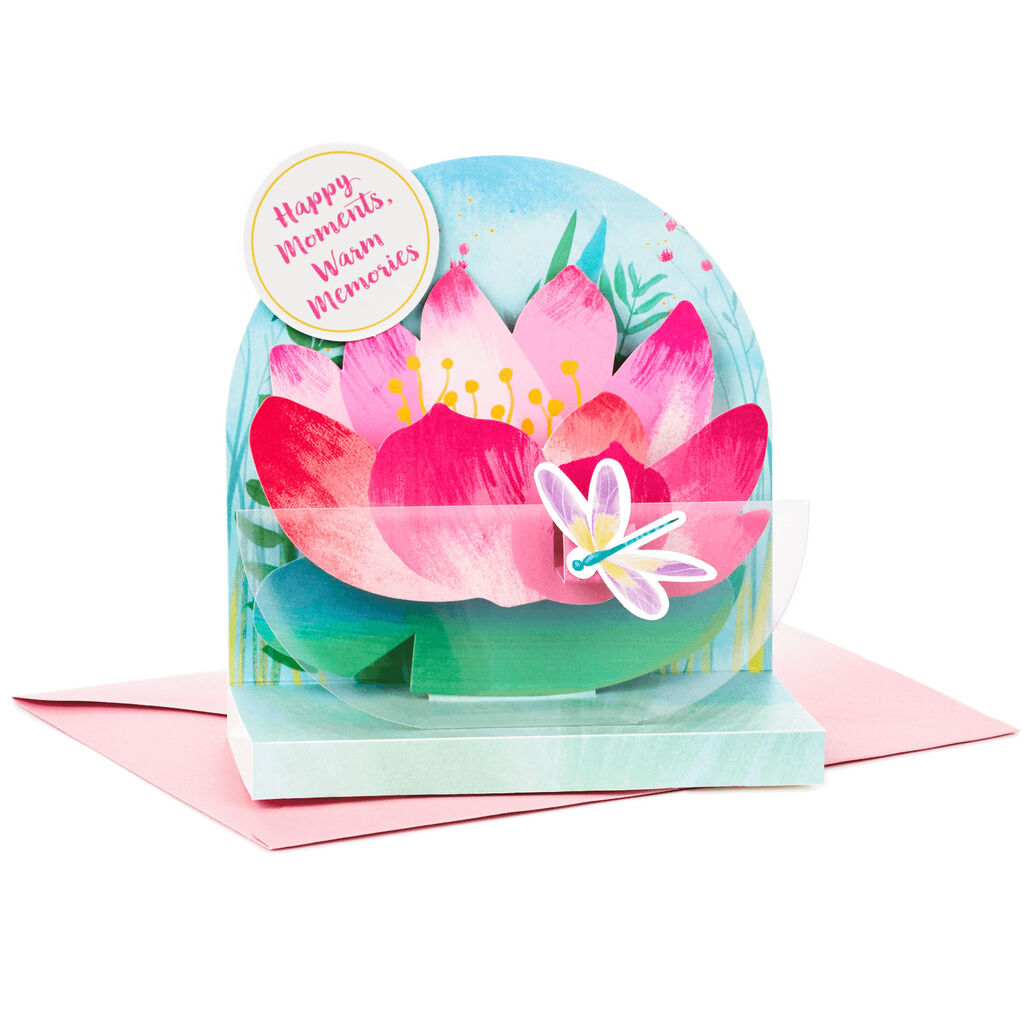 Happy Moments Lotus Flower Vase Pop Up Mothers Day Card Greeting