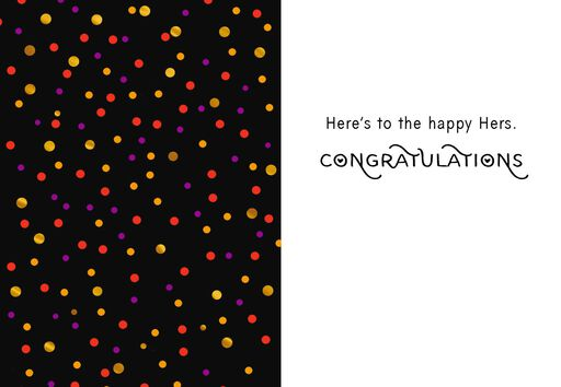 Happy Hers Black With Polka Dots Wedding Card,