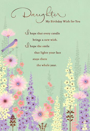 wishes bird and flowers birthday card for daughter