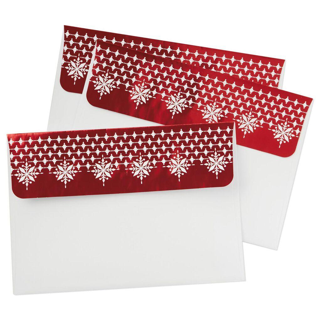 red snowflake foil designed envelopes pack of 8 designed