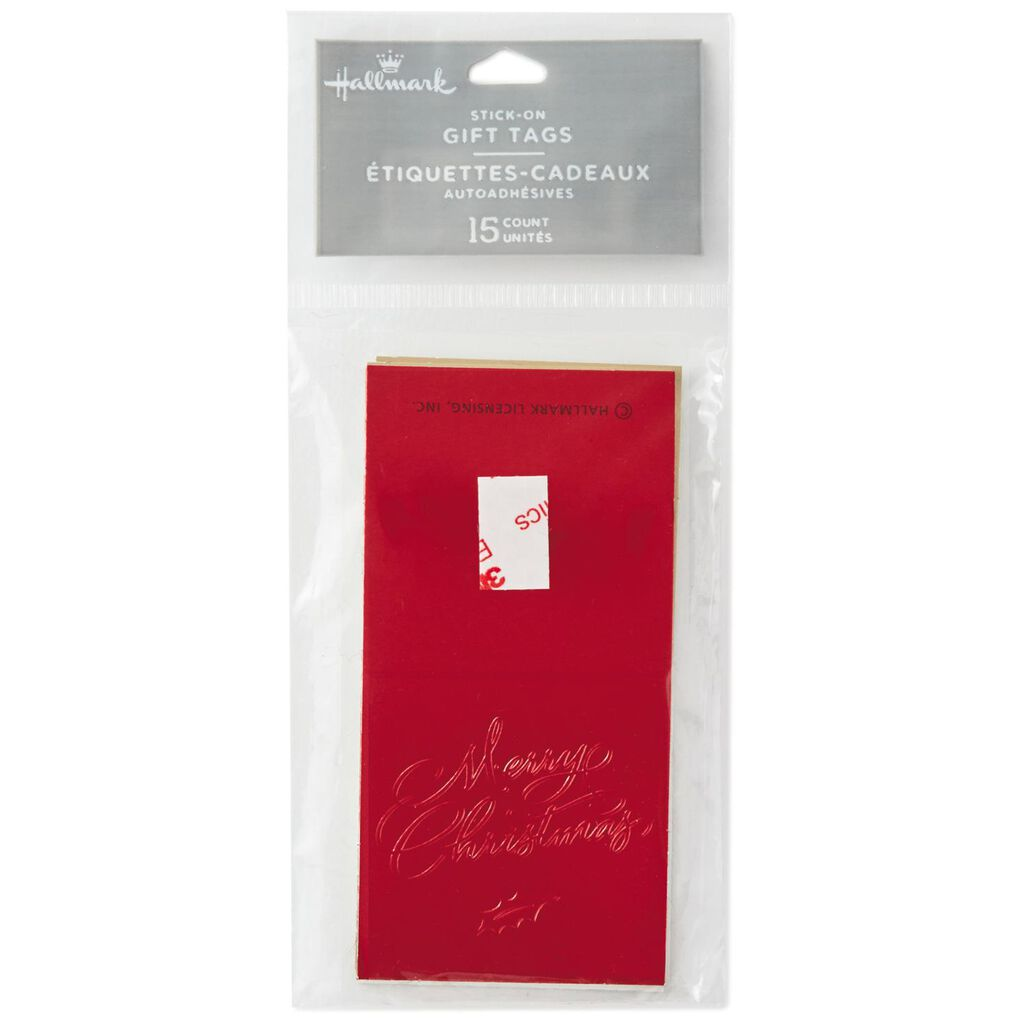 folded foil merry christmas gift tags pack of 15 seals and gift