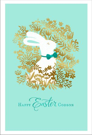 Flowers and Bunnies Easter Card for Godson
