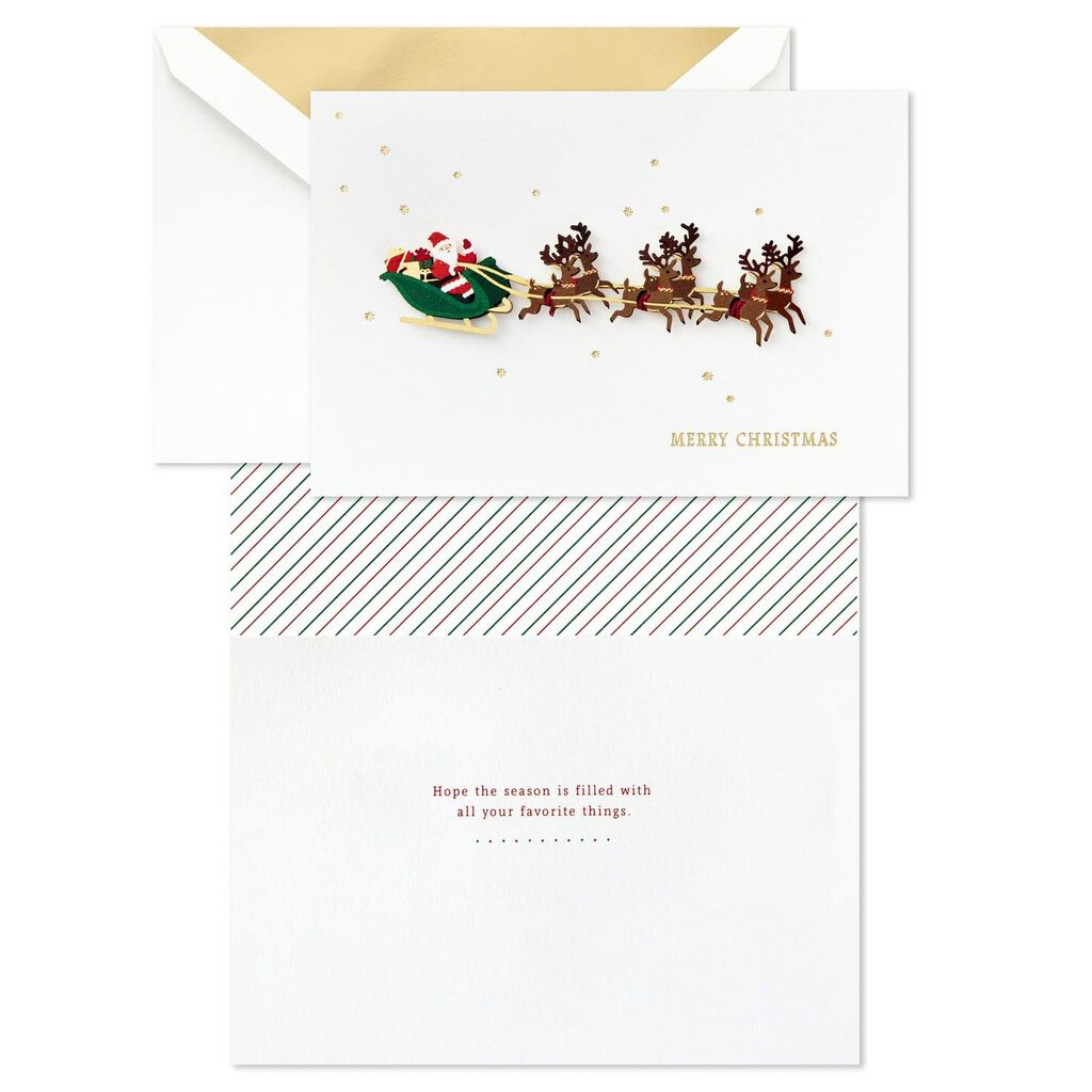 Reindeer Christmas Cards.Santa Flying With Reindeer Christmas Cards Box Of 8