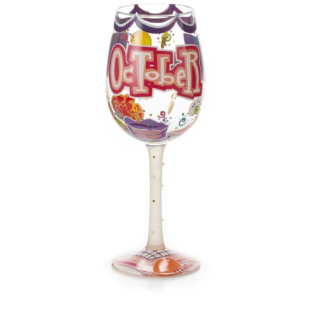LolitaR October Happy Birthday Hand Painted Wine Glass
