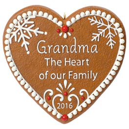 Grandma Gingerbread Heart Ornament, , large