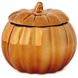 Coppered Pumpkin-Shaped Filled Candle, 6.5 oz., , large