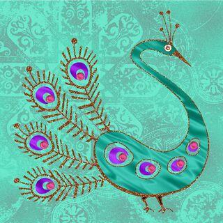 Pretty Peacock Blank Card,