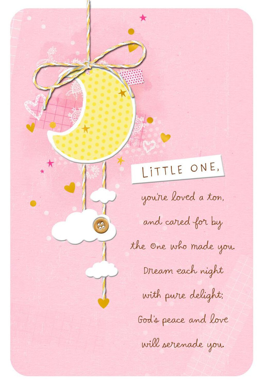 Moon With Hearts And Stars Baby Girl Christening Card Greeting