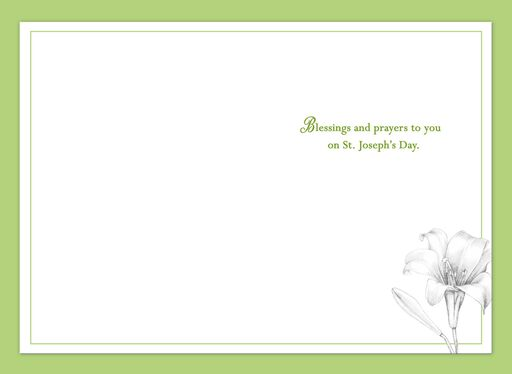 White Lilies St. Joseph's Day Prayer Card,