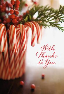 Candy Canes Good Cheer Holiday Thank You Cards, Pack of 6,