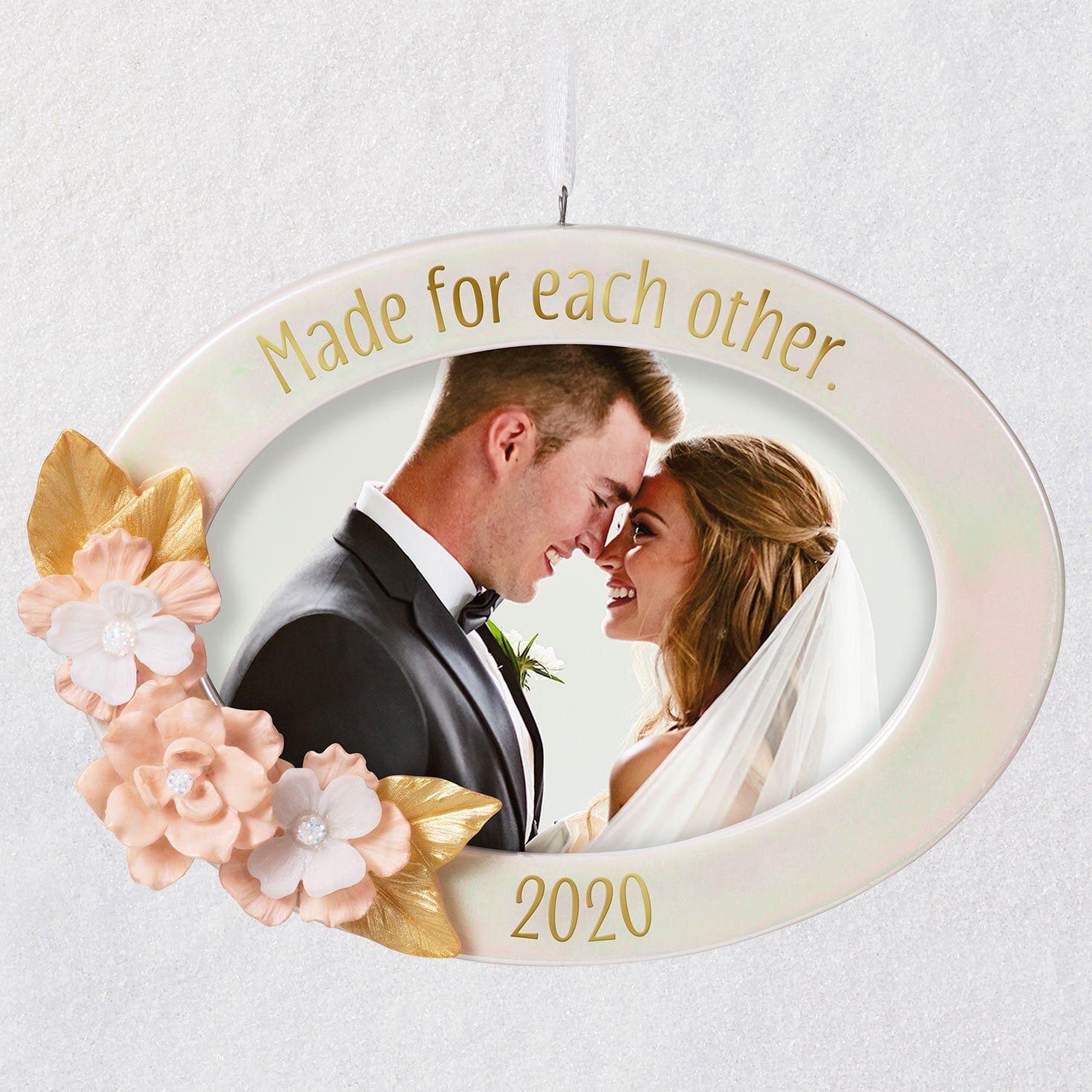Wedding Photo Holder Christmas Ornament Newlyweds Photo Frame
