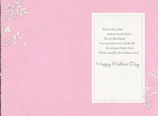 Black and White Photo of Sisters in Pigtails Mother's Day Card,