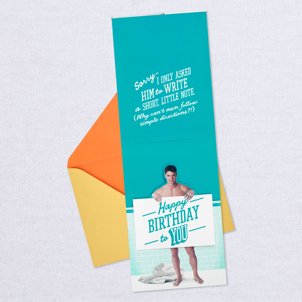 Naked Guy Birthday Message Pop Up Card