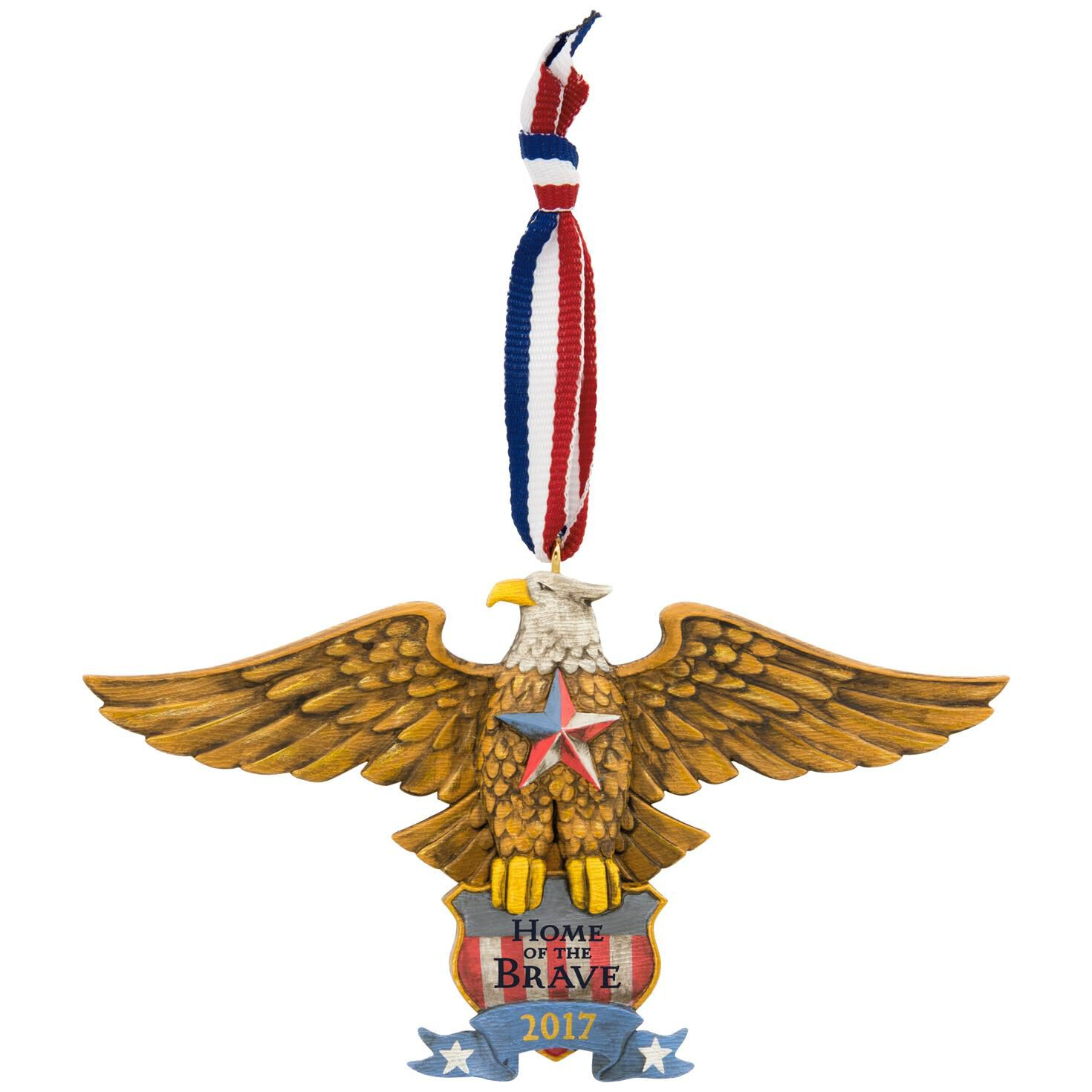 Home of the Brave Patriotic Folk Art Eagle Ornament - Keepsake ...