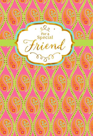 Paisley and Diamonds With Foil Friend Birthday Card