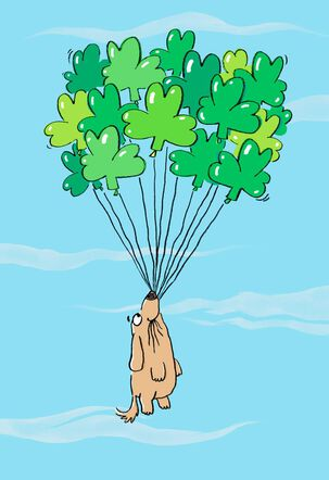 Dog With Balloons St. Patrick's Day Birthday Card