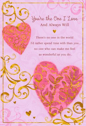 Scrollwork and Hearts on Pink Love Card
