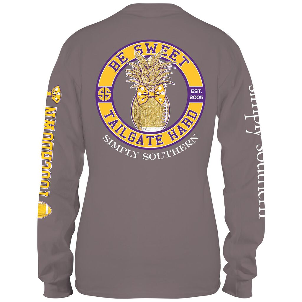 Simply Southern Womens Goldpurple Tailgate Long Sleeve T Shirt