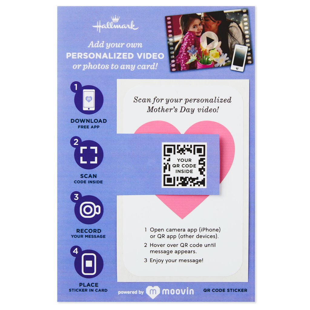 Heart Personalized Photo/Video QR Code Mother's Day Card Sticker