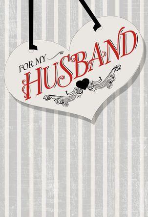 Vintage Gray Stripes Husband Valentine's Day Card