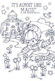 Rainbow Brite Flowers Coloring Card,